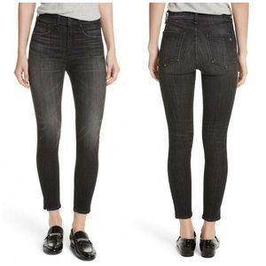 Rag & Bone High Rise Ankle Skinny Jeans Slits Hem
